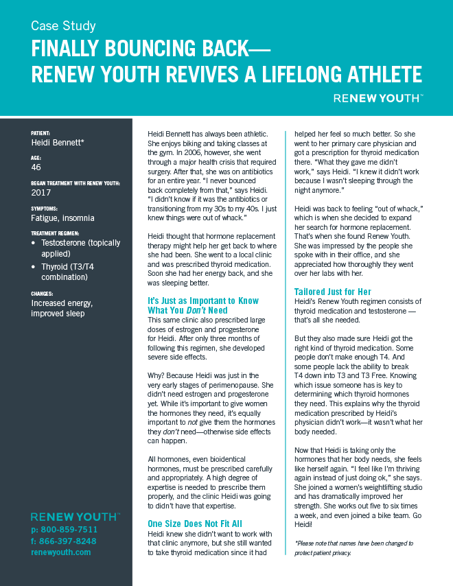 Finally Bouncing Back. <strong>Renew Youth Revives A Lifelong Athlete</strong>