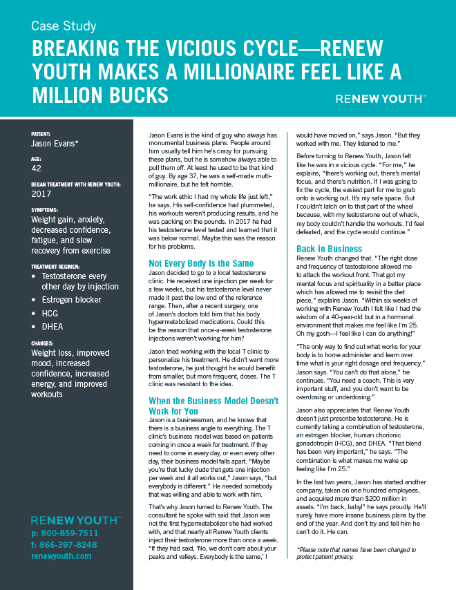 Breaking The Vicious Cycle. <strong>Renew Youth Makes A Millionaire Feel Like A Million Bucks</strong>