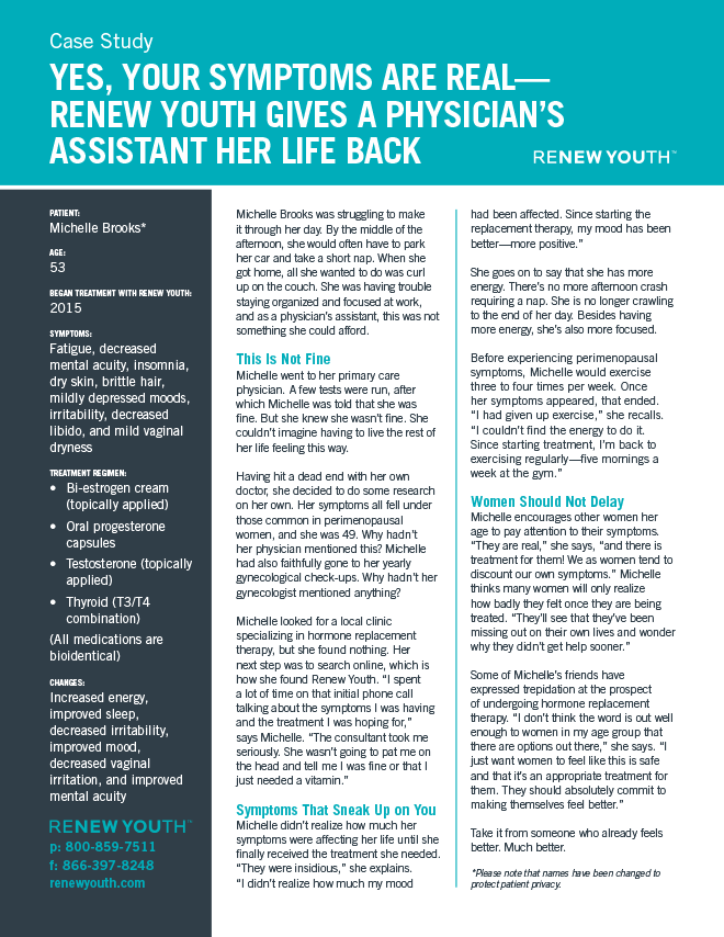 Yes, Your Symptoms Are Real. <strong>Renew Youth Gives A Physician's Assistant Her Life Back</strong>